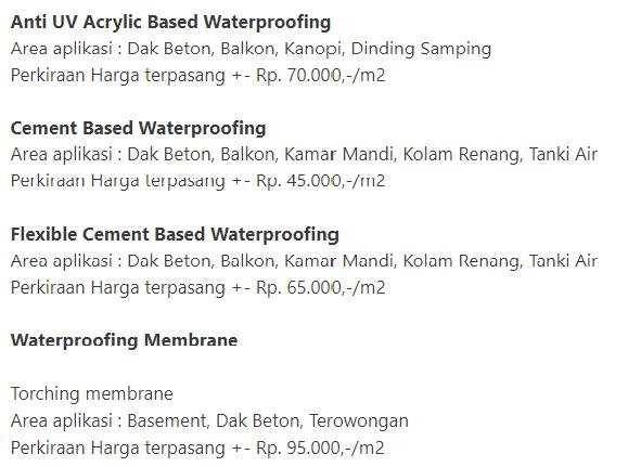 DaftarHarga Waterproofing Membrane Bakar